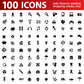 Centaines vector Icons pour les Applications Web. Web, médicaux, média, shopping et autres.