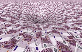 A Vortex Made Of 500,- Euro Banknotes