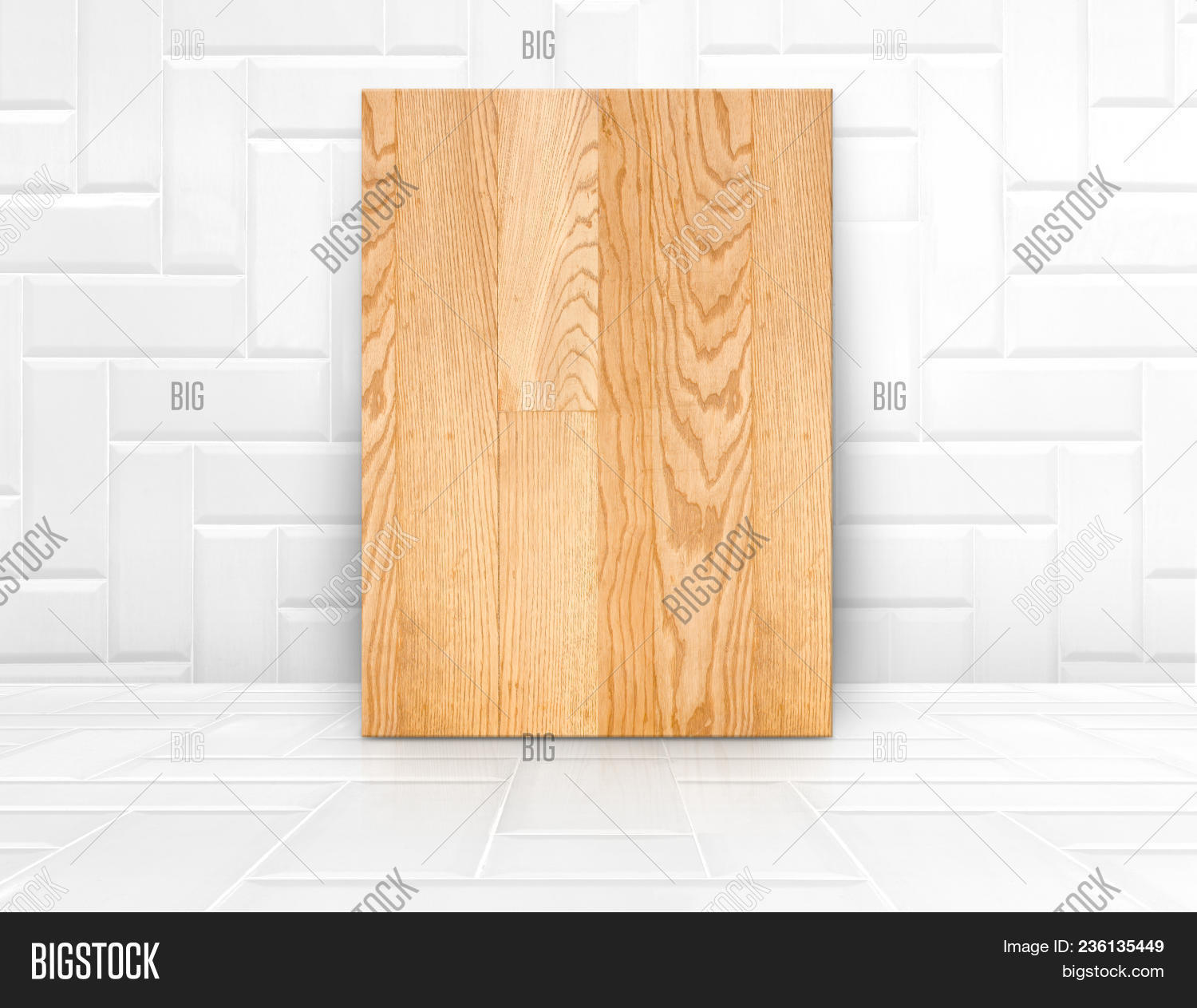 Wood Board Mock Up In Glossy White Tile Ceramic Roommodern Texture Backgroundwall