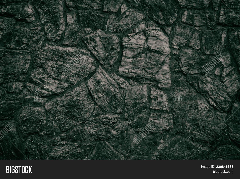Emerald Black Stone Wall Texture Dark Green Rough Rock Masonry Surface Gloomy Sinister Background