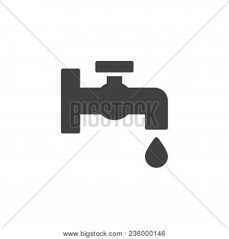Faucet With Water Drop Vector Icon. Filled Flat Sign For Mobile Concept And Web Design. Tap Water St