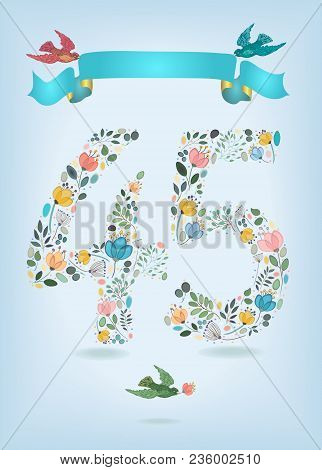 Floral Number Fourty Five With Blue Ribbon And Colorful Birds. Watercolor Graceful Flowers, Plants A