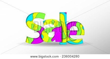 Sale text. Black Friday design template. Summer sale text. Vector illustration. Big Sale banner. Sale background. Sale sticker. Eps10. Sale offer. Paper cut background. Realistic 3D trendy style. Summer sale text. Special offer banner papercut design.