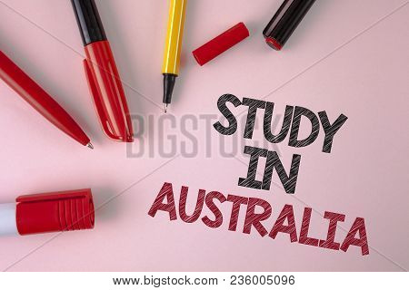 Conceptual Hand Writing Showing Study In Australia. Business Photo Text Graduate From Oversea Univer