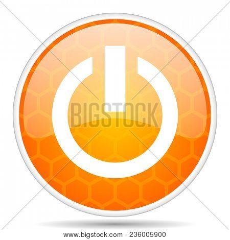 Power web icon. Round orange glossy internet button for webdesign.