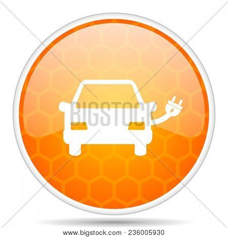 Electric car web icon. Round orange glossy internet button for webdesign.