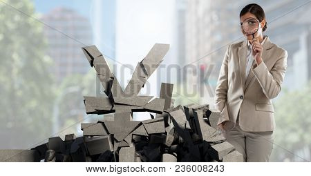 Broken concrete stone with money Yen symbol and businesswoman in cityscape