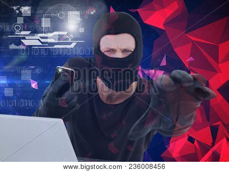 Hacker holding a smartphone and trying to hold the lens in front of minimalist background