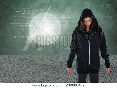 Woman hacker in front of green background