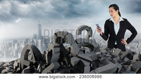 Broken concrete stone with Question symbol and businesswoman in cityscape