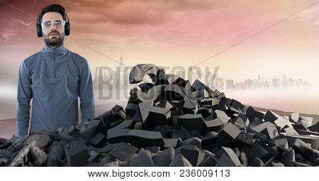 Broken concrete stone with money symbol and man with headphones in cityscape