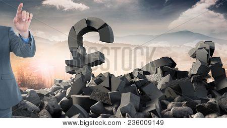 Broken concrete stone with money pound symbol and businessman in cityscape