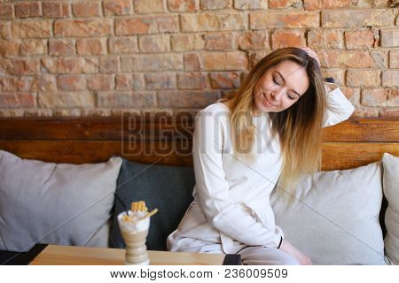 Cute Female Went To Cafe With Colleague, Young Beautiful Fair-haired Woman Wearing White Blouse, Gre
