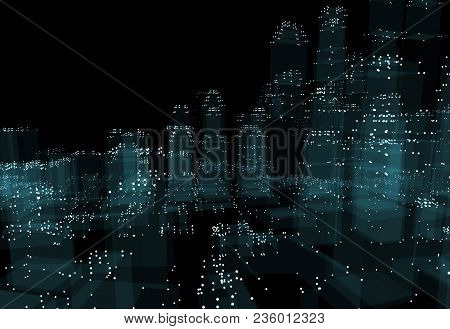 Abstract 3d City With Dots And Blue Buildings. Technology And Connection Concept. 3d Illustration On