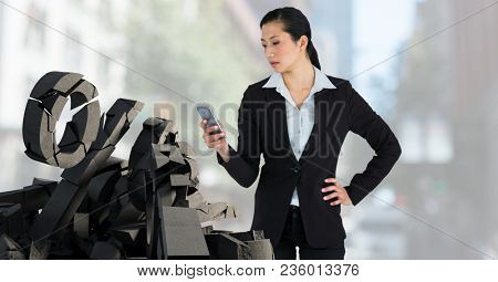Broken concrete stone with percentage symbol and businesswoman in cityscape