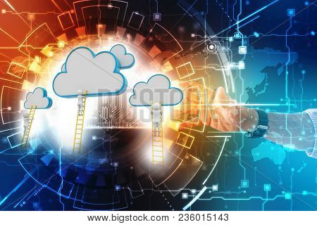 Rear View Of Businessman Standing On Ladder And Reaching Cloud. A Competition Concept, Clouds With L