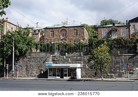 Yerevan, Armenia - October 05, 2017: Private Houses On The Hill, Charents Street In Yerevan