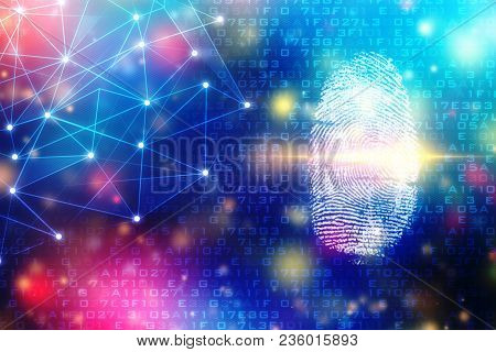 Security Concept: Fingerprint Scanning On Digital Screen. Cyber Security Concept. 3d Render