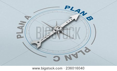 Compass With The Needle Pointing At The Text: Plan B, Concept Of Alternative Solution (3d Render)