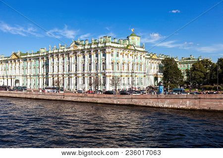Saint Petersburg, Russia - August 8, 2016: View From Neva River On The State Hermitage Museum (winte