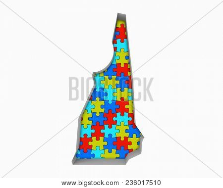 New Hampshire NH Puzzle Pieces Map Working Together 3d Illustration