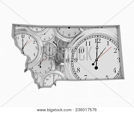 Montana MT Clock Time Passing Forward Future 3d Illustration