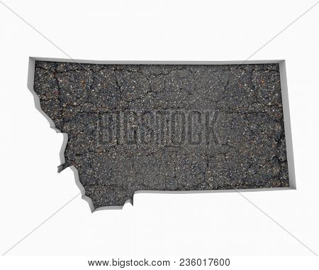 Montana MT Road Map Pavement Construction Infrastructure 3d Illustration