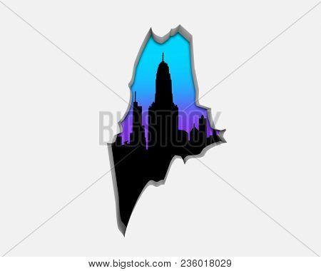 Maine ME Skyline City Metropolitan Area Nightlife 3d Illustration