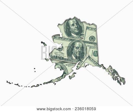 Alaska AK Money Map Cash Economy Dollars 3d Illustration