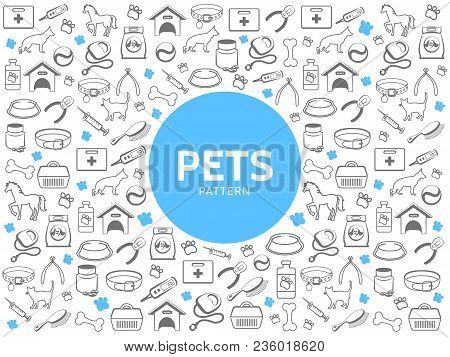 Pets Line Icons Pattern With Dog Cat Medical Box Carriers Bone Feed Collar Comb Syringe Pills Leash