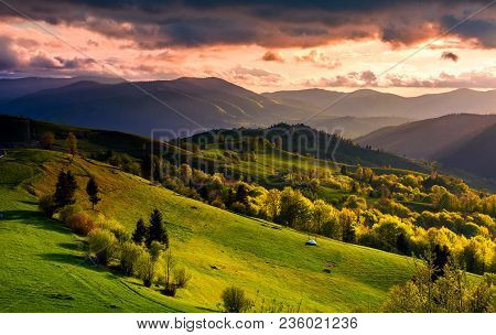 Gorgeous Sunset Over Carpathian Mountains. Beautiful Countryside With Forested Rolling Hills And Gra