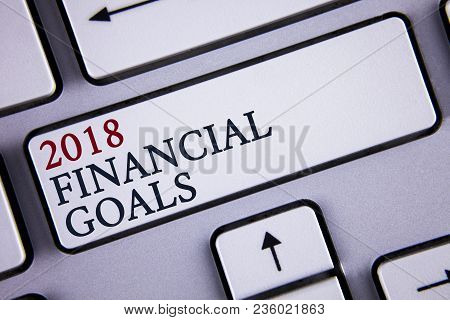Word Writing Text 2018 Financial Goals. Business Concept For New Business Strategy Earn More Profits
