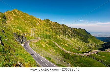 Transfagarasan Road Serpentine In The Valley. Beautiful Transportation Scenery In Mountains Of Roman