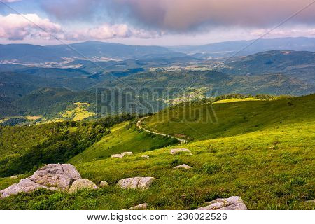 Lovely Landscape On Runa Mountain. Summer Scenery On A Cloudy Day In Beautiful Light. Huge Rocks On