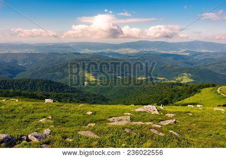 Lovely Landscape On Runa Mountain. Summer Scenery On A Cloudy Day In Beautiful Light. Huge Rocks On