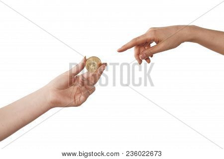 Two Hands With Bitcoin White Isolated The Creation Of Adam