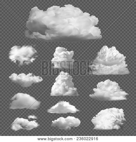 Collection Big Set Of Realistic White Clouds On A Transparent Background. Templates Of White Fluffy
