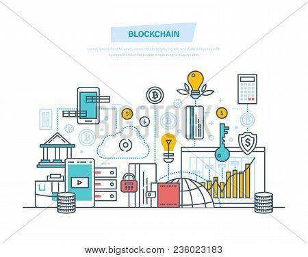 Blockchain, Cryptocurrency, Cloud Technologies, Safe Transactions, Bitcoins, Finance, Digital Money
