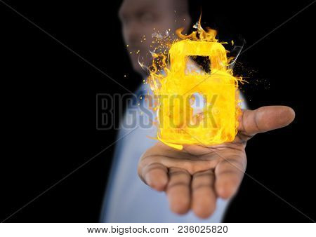 man with hand spread of with lock fire icon over. Black background