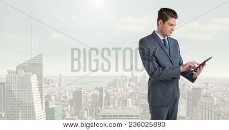 businessman in cityscape