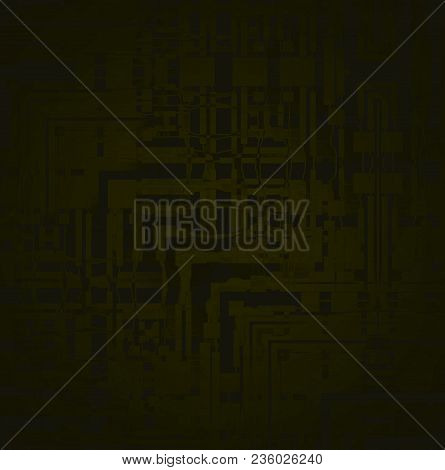 Abstract Geometric Background. Intricate Stripes And Squares Pattern In Olive Green And Brown Blurre