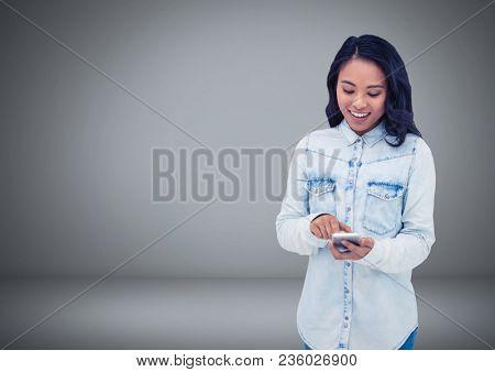 Woman Holding keys in front of vignette