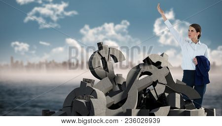 Broken concrete stone with money dollar symbol and businesswoman in cityscape