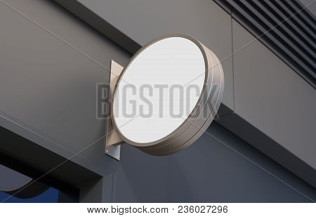 Blank, Outdoor Signage, Signboard Mockup, Sign Mounted On The Building For Logo Presentation. 3d Ren