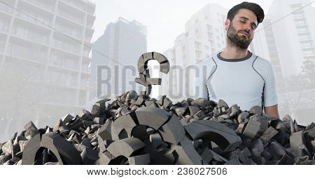 Broken concrete stone with money pound symbol and man in cityscape