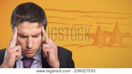Frustrated business man thinking of beach against yellow background