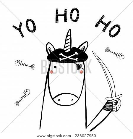 Hand Drawn Portrait Of A Cute Funny Pirate Unicorn In Tricorne Hat, With A Cutlass. Isolated Objects