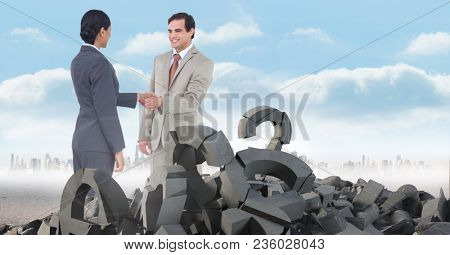 Broken concrete stone with Question symbol and business people in cityscape