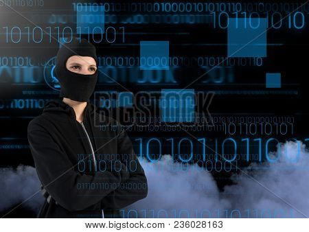 Woman hacker with arms crossed in front of digital background