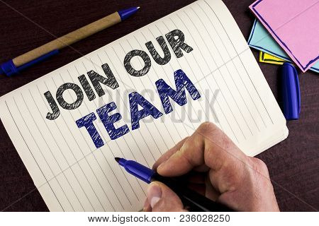 Conceptual Hand Writing Showing Join Our Team. Business Photo Showcasing Get Over Unemployment Joini